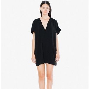 American Apparel Oversize V-Neck Black Tunic Dress